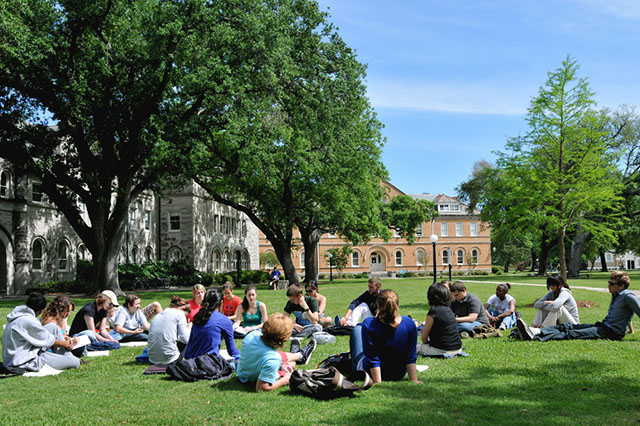 Class held outside in quad